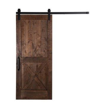Rustica Hardware 42 in. x 84 in. Stain, Glaze, Clear Rockwell Rough Sawn Unassembled Wood Barn Door with Sliding Door Hardware Kit-12K1FS3670SI7BF - The Home Depot