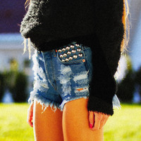 450 Indigo Studded Distressed Dreamer Shorts