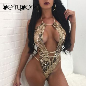 BerryPark 2019 New Hollow Out One Piece Gold Swimsuit Bandage Bodysuit Bling Sequin Bathing Suit Swim Wear Women Halter Monokini
