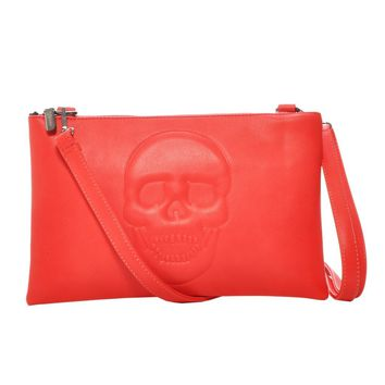 Mechaly Womens Skully Red Vegan Leather Skull Clutch Crossbody Handbag