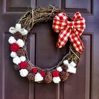 Christmas Burlap Wreath on Grapevine for Front Door