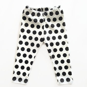 Polka Dot Leggings Organic Black White Baby Girls Boys