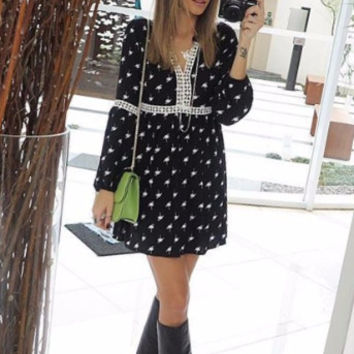 Black Bird Print V-Neck Crochet Accent Mini Dress