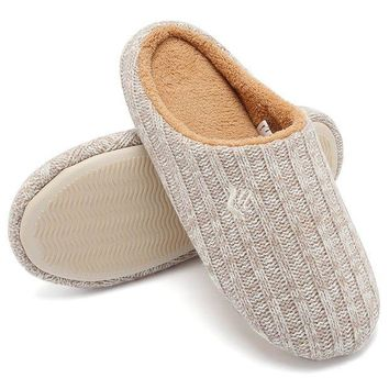 CREYIX5 CIOR FANTINY Women's House Slippers Indoor Memory Foam Cashmere Cotton Knitted Autumn Winter Anti-Slip