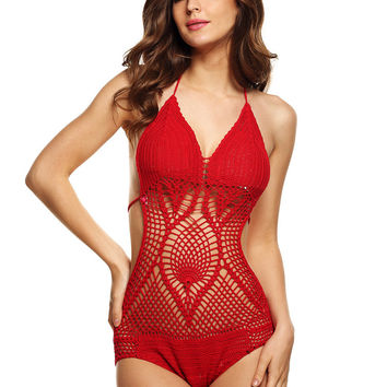 Crochet Halter Backless Swimsuit