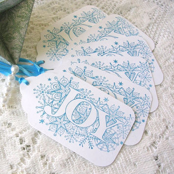 Christmas Gift Tags - Large Christmas Tags - Blue on White Joy Gift Tags - Set of 6 Double Layer Holiday Tags - Handstamped Tags