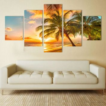 HD Print 5 pcs art Sunset sea beach painting Home Wall Decor Print Painting on canvas art print landscape picture art  /PT0284