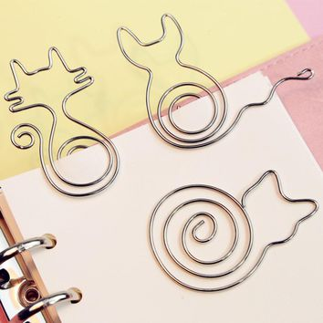 5pcs/lot Paper clips metal modelling cat bird flower cute paper clips with kawaii greeting card office binding stationary clip