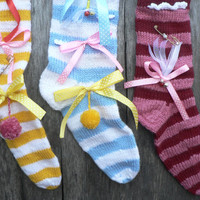 Set of three exclusive knitting Christmas stocking - yellow - blue - red - Christmas gifts - Christmas decor