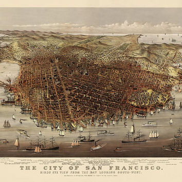Antique Map of San Francisco (c1878) by Currier and Ives - Archival Reproduction