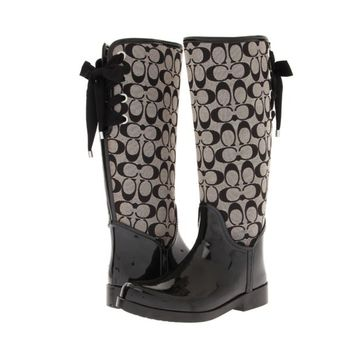COACH TRISTEE CLASSIC ICONIC SIGNATURE LACE UP CORSET LOGO TALL RAIN BOOTS
