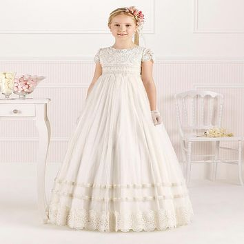 2017 Arabic Flower girl dresses for wedding party tull communion dress for girls Baby child mother daughter kids evening gowns