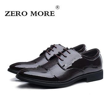 ZERO MORE Microfiber Business Dress Shoes Men Patent Leather Classic Fashion Oxford Shoes for Men Flat Shoes SIZE 38-44