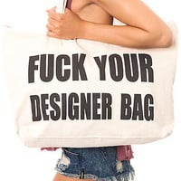 The F Your Designer Bag in Beige