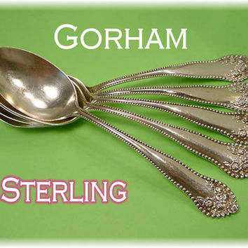 GORHAM - Sterling Lancaster Rose - Sterling Silver 5 Teaspoons Flatware - PA Estate Treasure