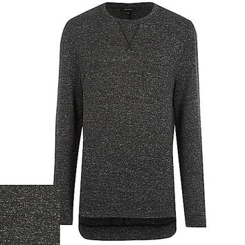River Island MensBlack marl long sleeve top