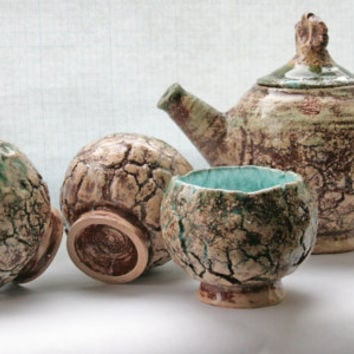 Handmade Tea Set Ceramic Raku Bowls and Teapot Unique Cups Pottery techniques Housewarming gift Wedding gift Three Snails Free Shipping!!!