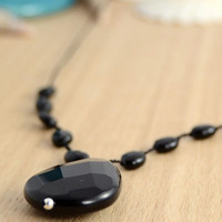 Black onyx necklace. Stone pendant beaded necklace MTO