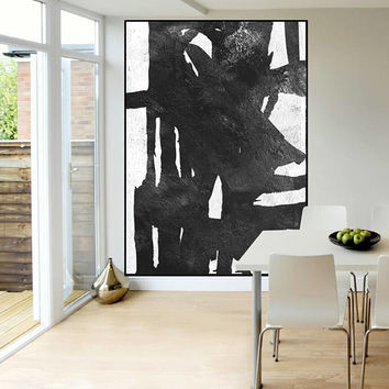 original Acrylic painting mid century modern wall art  black and white, large abstract painting, extra large wall art, Contemporary Painting