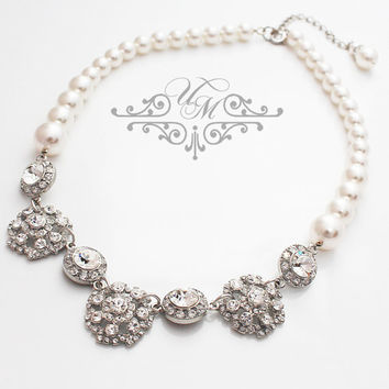 Wedding Necklace Single Strands Swarovski Pearl Necklace Rhinestone Snowflake Necklace Bridal Necklace Bridesmaids Necklace - HEBE