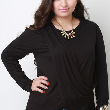 Draped Overlay Round Neck Long Sleeves Top