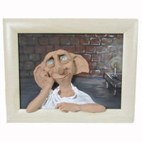 Dobby, 3d wall art, Picture, Free Dobby, Harry Potter, Funny picture, Polymer clay picture, Handmade, 3D picture, Nursery decor, Teen room