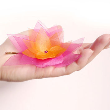 Sunset organza flower bobby pin Fuchsia + Orange, Swarovski crystal