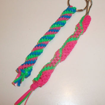 Two Bright Colored Back to School Gimp Keychains