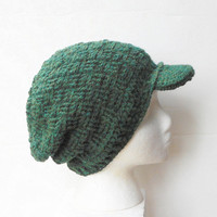 Basket Weave Crochet Newsboy Tam Hat in Forest Green Heather, MADE TO ORDER.