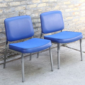 VINTAGE 1970s Cobalt Blue & Chrome Side Chairs