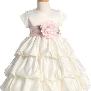 Satin Bubble Flower Girl Dress - Ivory - Girls BL204