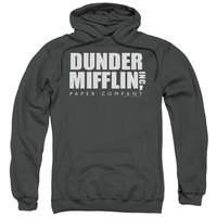 THE OFFICE/DUNDER MIFFLIN-ADULT PULL-OVER HOODIE-CHARCOAL