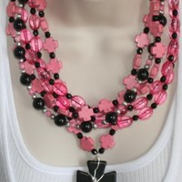 Pink Cowgirl Statement Necklace, Black and Pink Cross Necklace, Christian Necklace