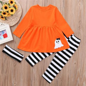 halloween dress for toddler kids ghost pattern dress for girl princess fashion dress roupas infantis menina 4ST6