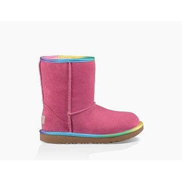 UGG Girls' Classic Short II Rainbow Pull-Up Boots Little Kid | Pink Azalea