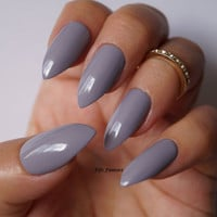 Grey stiletto nails, Nail art, Nail designs, Nails, Stiletto nails, Acrylic nails, Press on nails, Pointy nails, False nails, Fake nails