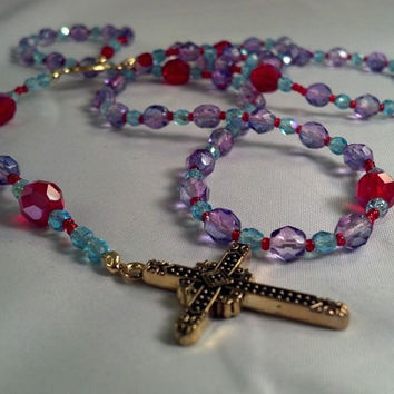Czech Glass Bead Rosary in Red Baby Blue and by TruthAndChange