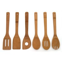 High Quality 6 Pieces Bamboo Spoon Spatula Mixing Set Utensil Kitchen Wooden Cooking Tool