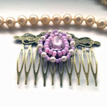 Pink Hair Comb Rhinestone hair comb vintage pink comb hair clips women pink beads comb pink wedding comb pink bridal comb white comb