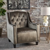 Gianna Two Tone Tufted New Velvet Club Chair