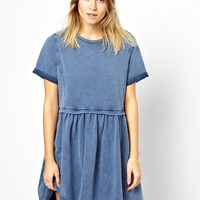 ASOS PETITE Smock Dress In Acid Wash - Blue