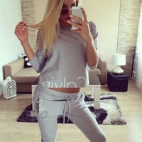 Calvin Klein Fashion Casual Letter Print Round Neck Long Sleeve Sweater Set Two-Piece Sportswear