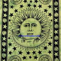 Traditional Green and Black color Sun Moon tapestry Twin size bed sheet hippie boho wall hanging bohemian tapestry picnic sheet