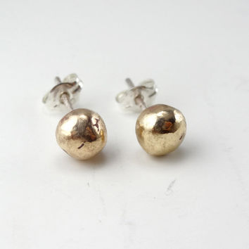 EARRINGS Galaxy / MARS, Sterling Silver and Gold Metal, Modern, Contemporary, Hammered, Handmade, Simple, Minimalistic, gold, silver.