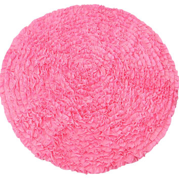Dark Pink Ruffles - Nursery Rugs (Made to Order. Usually ships in 2-3 weeks)
