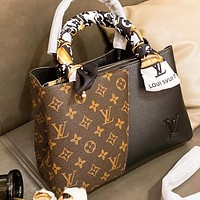 LV Louis Vuitton New Hot-selling Patchwork Printed Letter Tote Bag Shoulder Bag with Scarf