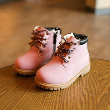 2017 New Baby Boots Cute Pink Baby Girls Martin Boots for 1-6 Years Old Children Shoes Fashion Boots  Kids Work Boots Hot 21-30