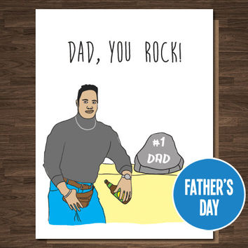 Funny Father's Day Card Dad You Rock Dwayne Johnson WWF WWE