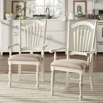 HomeVance 2-piece Cottage Row Arm Dining Chair Set (White)