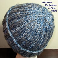Blue Gray Tweed Ribbed Knit Hat - 2 Color Knit Hat - Cold Weather Hat - Winter Hat - Ski Hat - Ribbed Cuff Hat - Ready To Ship Hat